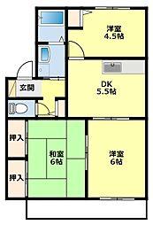 愛知県豊田市美里5丁目の賃貸アパートの間取り