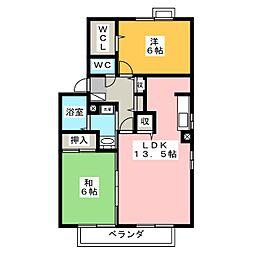 愛知県日進市岩崎台2丁目の賃貸アパートの間取り
