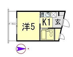 アサヒマンション[305号室]の間取り