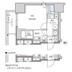 パークアクシス新栄 6階ワンルームの間取り