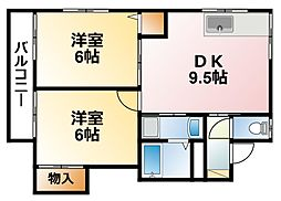 千葉県茂原市大芝の賃貸アパートの間取り