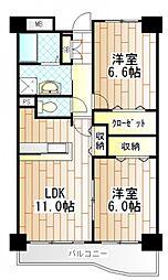 東京都町田市能ヶ谷4丁目の賃貸マンションの間取り