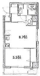 JR山手線 大塚駅 徒歩8分の賃貸マンション 2階1DKの間取り