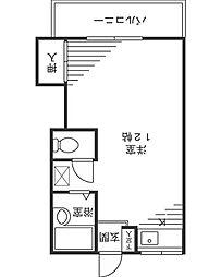 第二シルクハイツ角田[206号室]の間取り