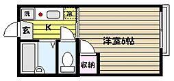 兵庫県神戸市東灘区鴨子ケ原1丁目の賃貸アパートの間取り