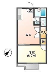 ハイツカジヤマ[1階]の間取り