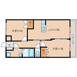 近鉄天理線 二階堂駅 徒歩8分の賃貸マンション 2階2LDKの間取り
