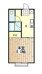神奈川県厚木市水引1丁目の賃貸アパートの間取り