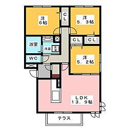 愛知県名古屋市昭和区高峯町の賃貸アパートの間取り
