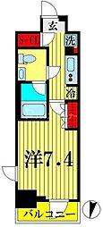 東武亀戸線 亀戸水神駅 徒歩10分の賃貸マンション 6階1Kの間取り