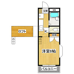 シバヤマハイツ[2階]の間取り