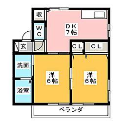 レトア塚越[1階]の間取り