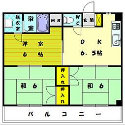 福岡県宗像市自由ヶ丘西町の賃貸マンションの間取り