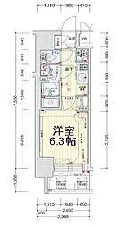 プレサンスOSAKA DOMECITY ワンダー 4階1Kの間取り