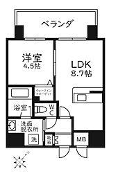 Modern Palazzo天神南リーフ 4階1LDKの間取り