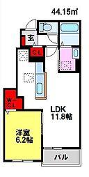 カルム・メゾンB 1階1LDKの間取り