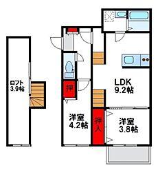 メゾンドソレイユ3[2階]の間取り