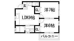兵庫県宝塚市平井2丁目の賃貸アパートの間取り