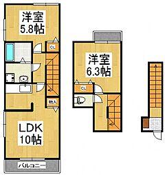 エムセレーノB[2階]の間取り