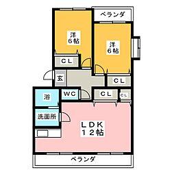 ジュネス仲島II[2階]の間取り