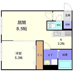 バス 西の里下車 徒歩3分の賃貸アパート 1階1LDKの間取り