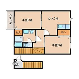 奈良県奈良市西九条町1丁目の賃貸アパートの間取り