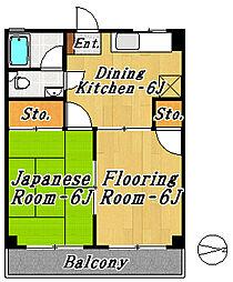 市川マンション[4階]の間取り