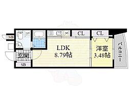 Osaka Metro御堂筋線 江坂駅 徒歩4分の賃貸マンション 10階1LDKの間取り