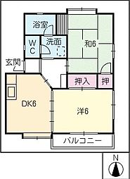 オアシス中央B棟[1階]の間取り