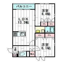 Soleado[3階]の間取り