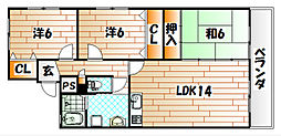 エルスール小原川II[3階]の間取り