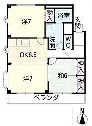 サンヴィラ篠田 A棟[1階]の間取り