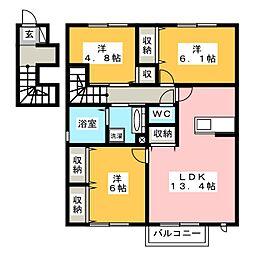 庵 弐番館[2階]の間取り