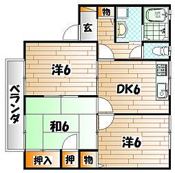 プレジール上吉田 J棟[2階]の間取り