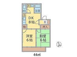 千葉県松戸市八ケ崎の賃貸アパートの間取り