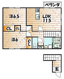 福岡県北九州市戸畑区東大谷3丁目の賃貸アパートの間取り