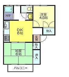 ファミールT・I B棟[2階]の間取り