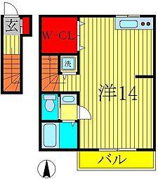 千葉県柏市今谷南町の賃貸アパートの間取り
