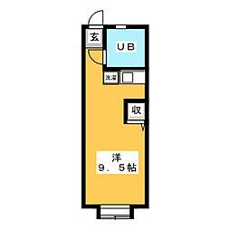一麦社アパートメント 1階ワンルームの間取り