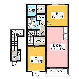 三重県名張市希央台2番町の賃貸アパートの間取り