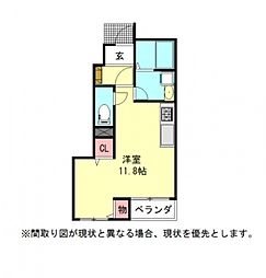 愛知県一宮市開明字桝井戸の賃貸アパートの間取り