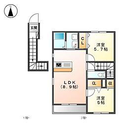 ケレンシアA・B[2階]の間取り