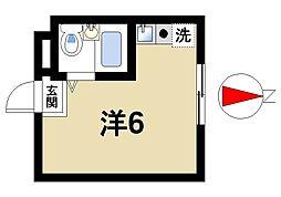 フジヨシビルII 4階ワンルームの間取り