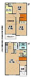 福岡県北九州市小倉南区大字徳吉の賃貸アパートの間取り