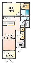 JR湖西線 新旭駅 徒歩7分の賃貸アパート 1階1LDKの間取り