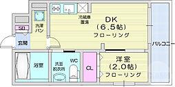仙台市地下鉄東西線 川内駅 徒歩19分の賃貸マンション 3階1DKの間取り