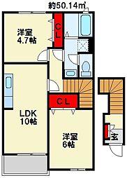 ウェル・モア B棟[2階]の間取り