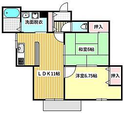 Osaka Metro谷町線 大日駅 徒歩7分の賃貸マンション 2階2LDKの間取り