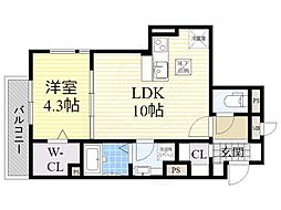 ルリエ江坂 1階1LDKの間取り