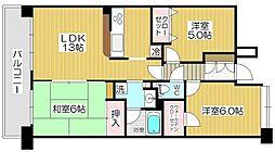 レーベンハイム戸田公園アクアシティ[702号室]の間取り